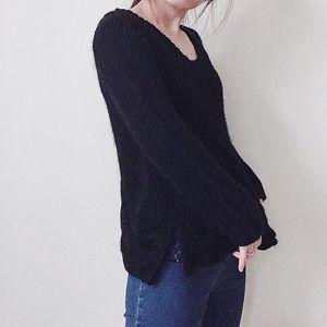 Zara black wool-blend open-back chunky sweater